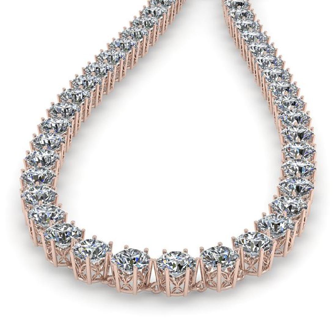 39 CTW SI Certified Diamond Necklace 18K Rose Gold - 2