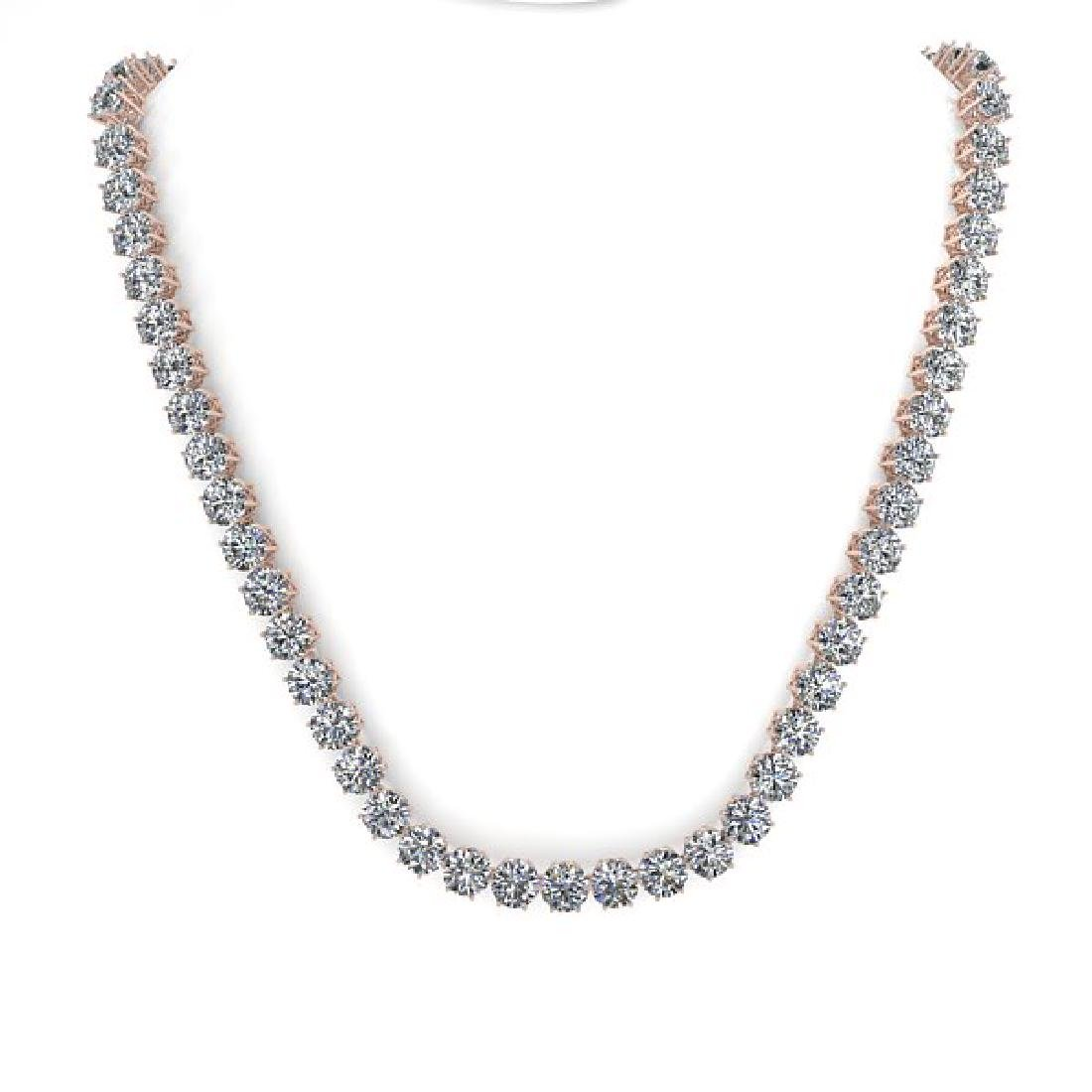 39 CTW SI Certified Diamond Necklace 18K Rose Gold - 3