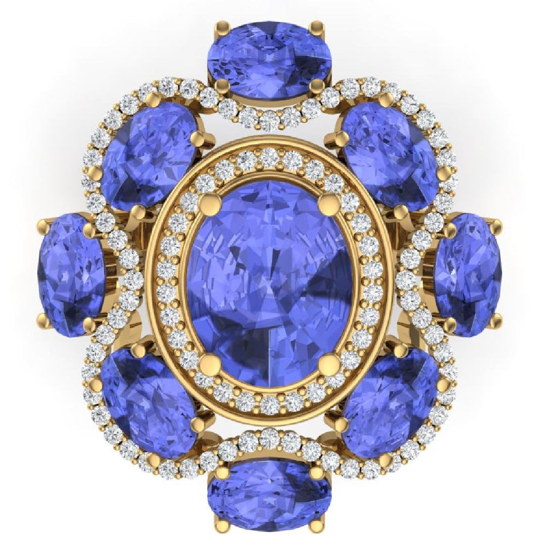 9.67 CTW Royalty Tanzanite & VS Diamond Ring 18K Yellow - 2