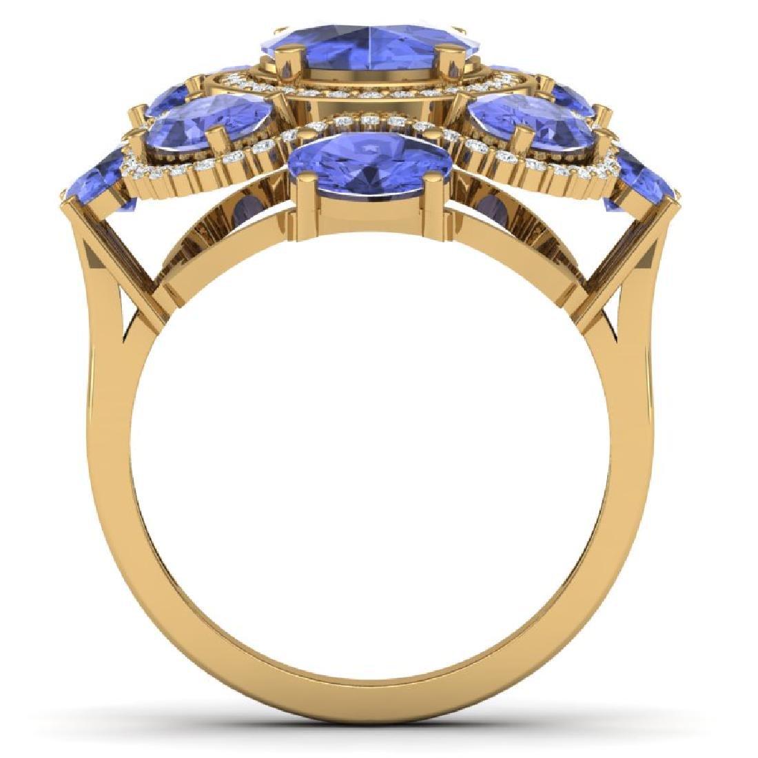9.67 CTW Royalty Tanzanite & VS Diamond Ring 18K Yellow - 3