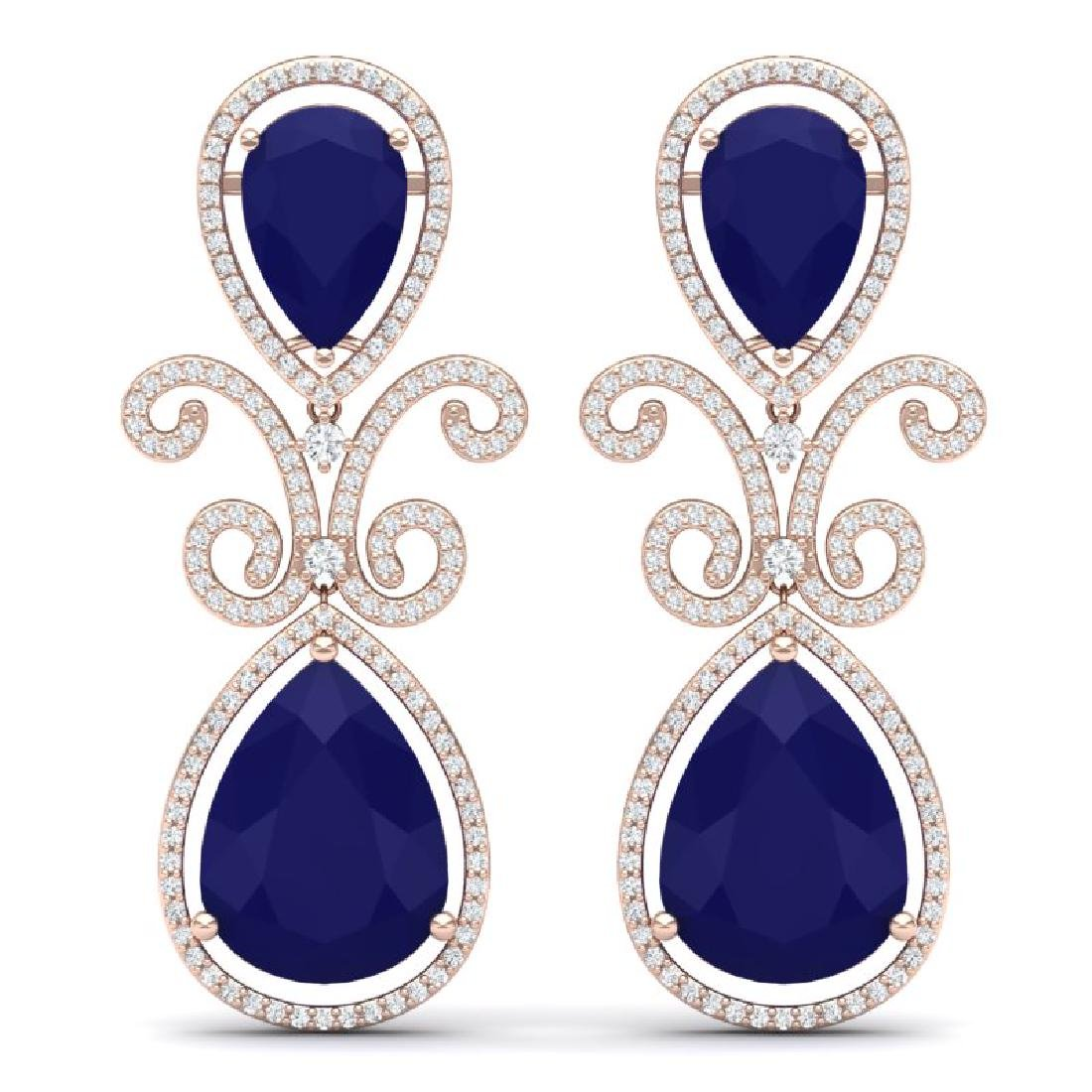 31.6 CTW Royalty Sapphire & VS Diamond Earrings 18K