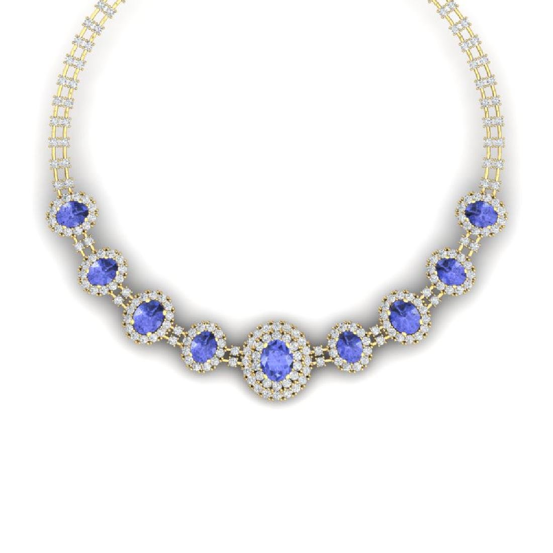 46.51 CTW Royalty Tanzanite & VS Diamond Necklace 18K
