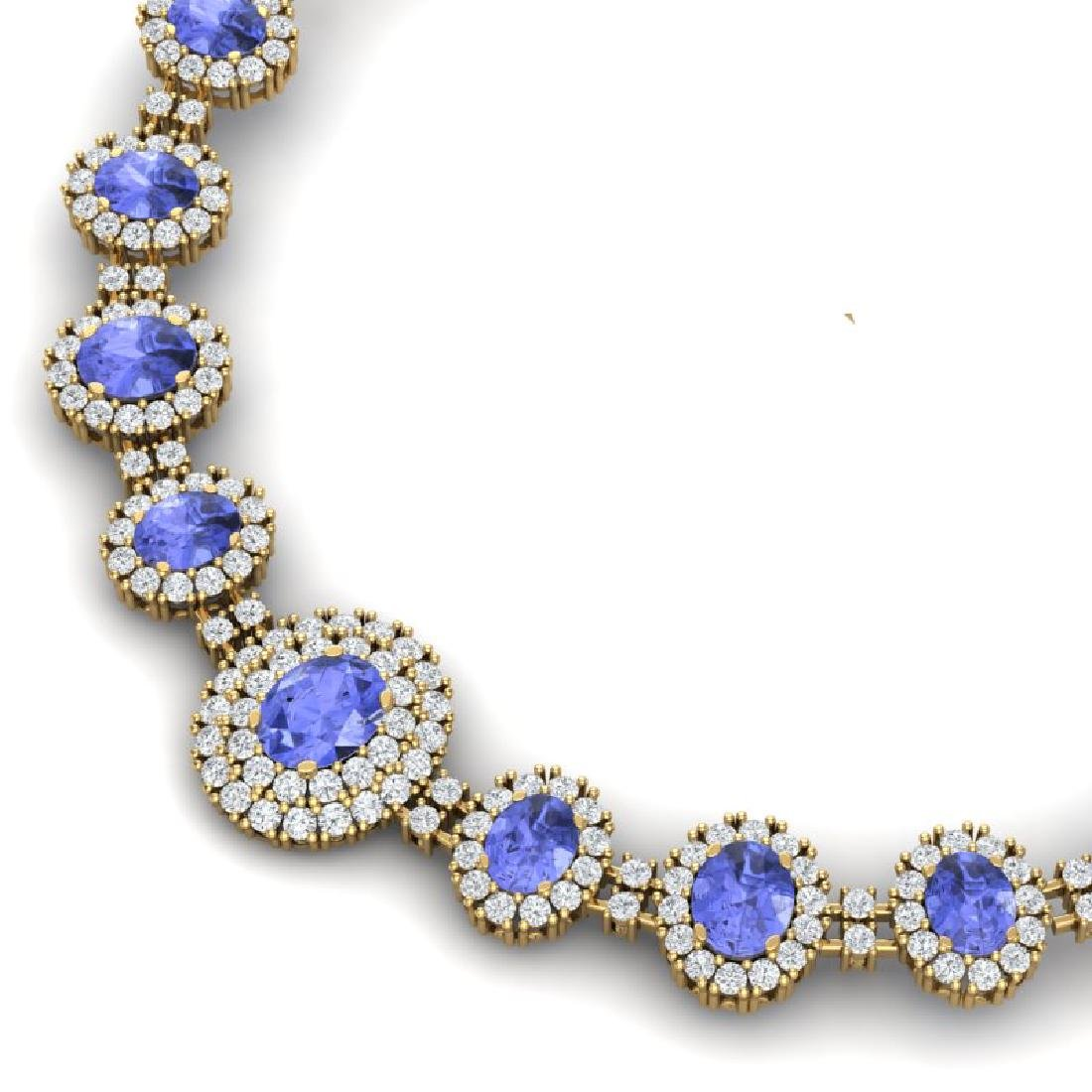 46.51 CTW Royalty Tanzanite & VS Diamond Necklace 18K - 2
