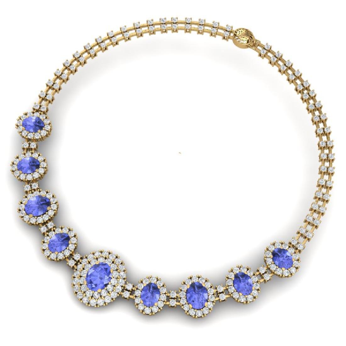 46.51 CTW Royalty Tanzanite & VS Diamond Necklace 18K - 3