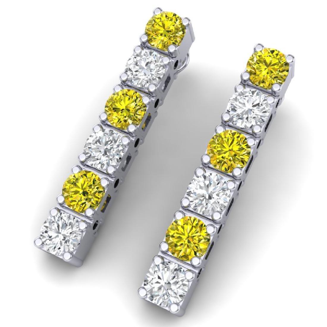 6 CTW SI/I Fancy Yellow & White Diamond Earrings 18K