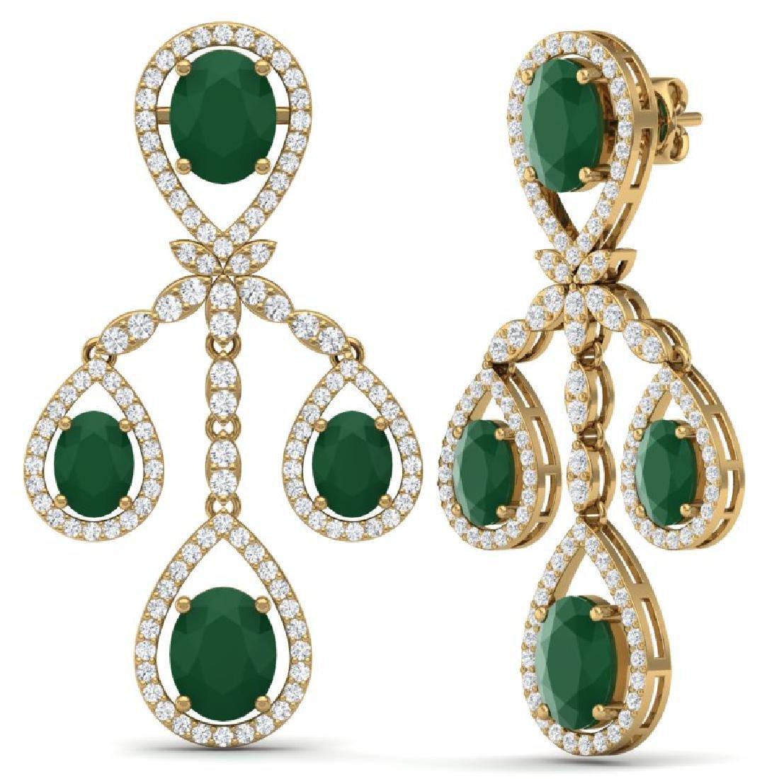25.08 CTW Royalty Emerald & VS Diamond Earrings 18K - 3