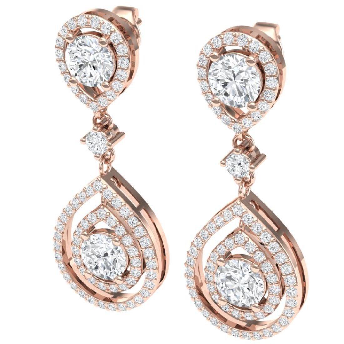 3.53 CTW Royalty Designer VS/SI Diamond Earrings 18K - 2