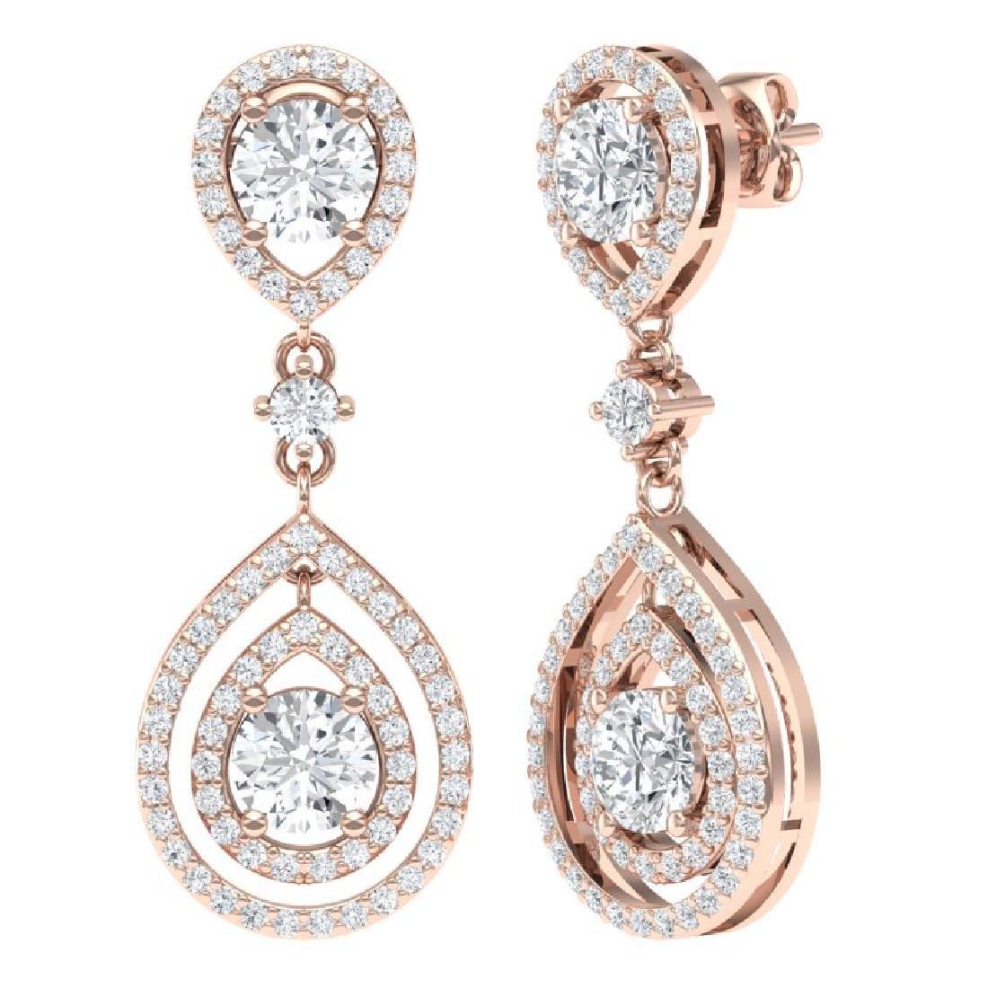3.53 CTW Royalty Designer VS/SI Diamond Earrings 18K - 3