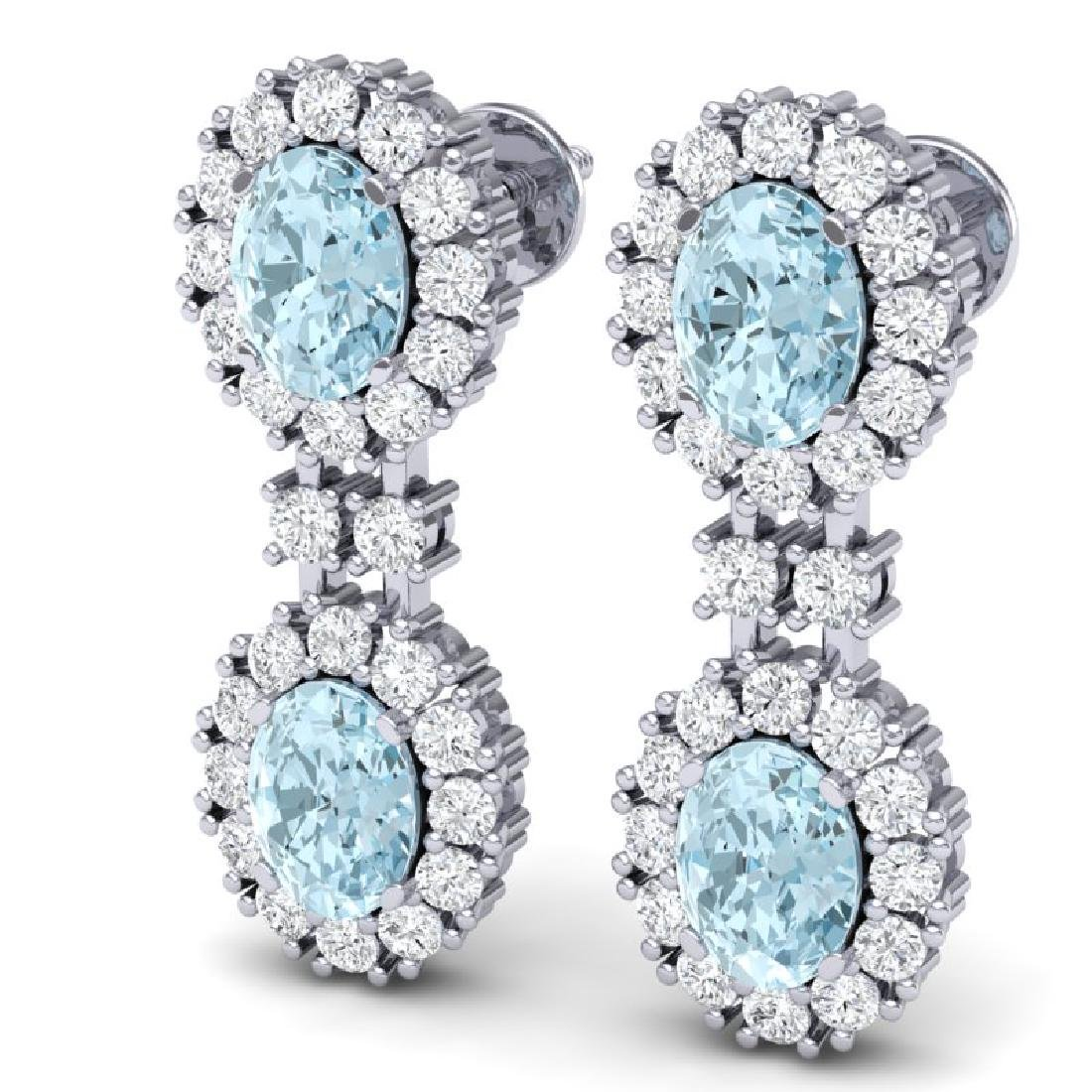 8.8 CTW Royalty Sky Topaz & VS Diamond Earrings 18K - 2