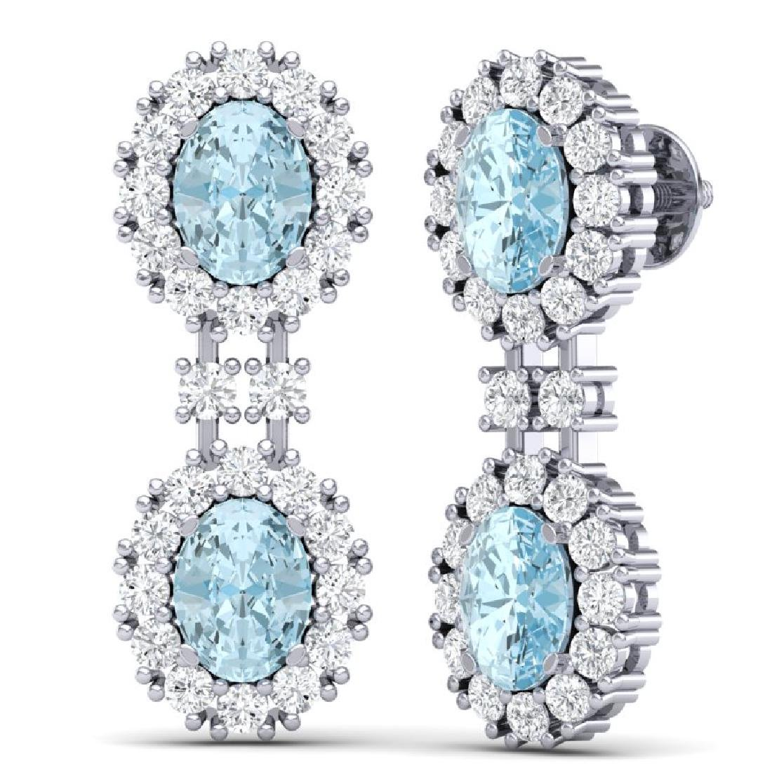 8.8 CTW Royalty Sky Topaz & VS Diamond Earrings 18K - 3