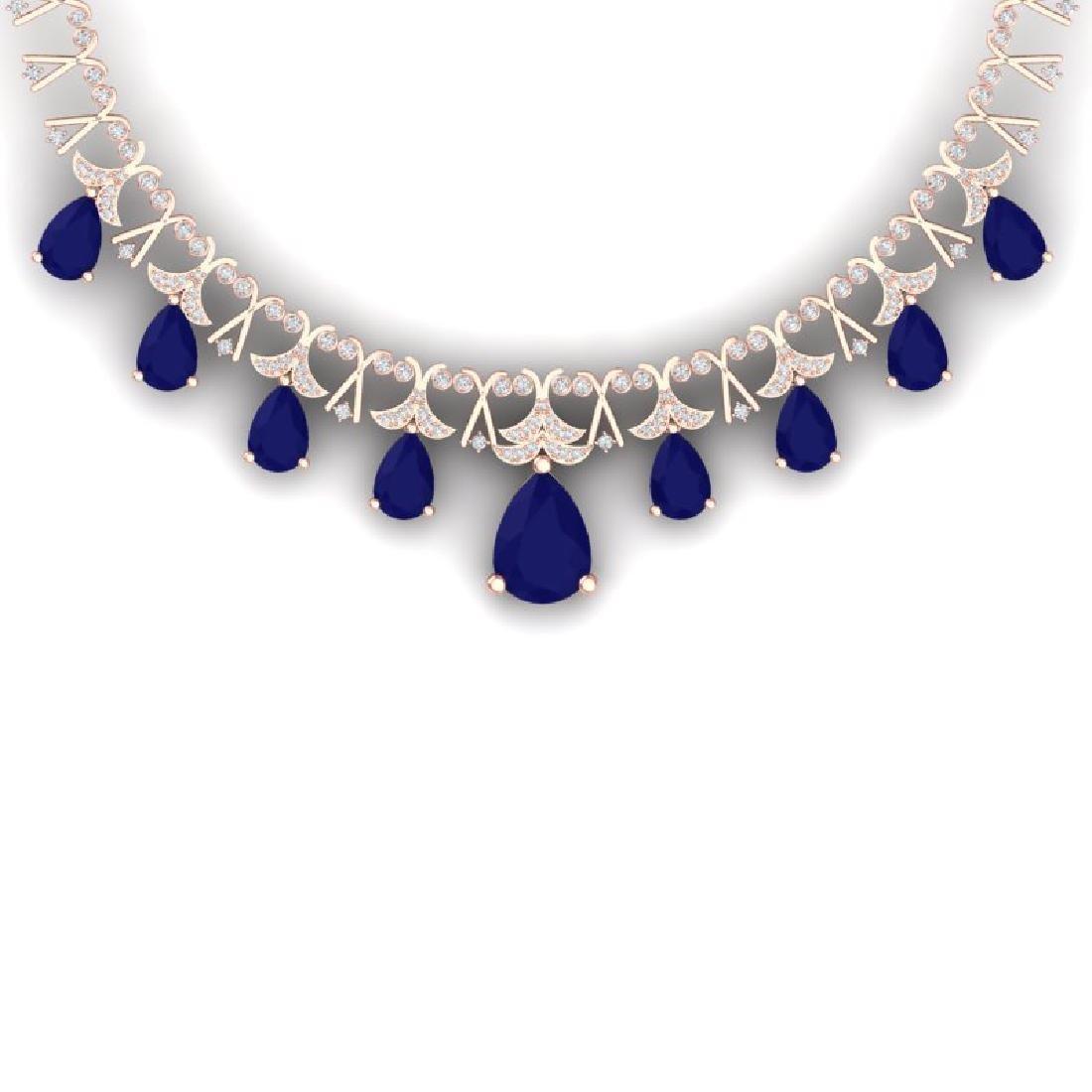 56.94 CTW Royalty Sapphire & VS Diamond Necklace 18K
