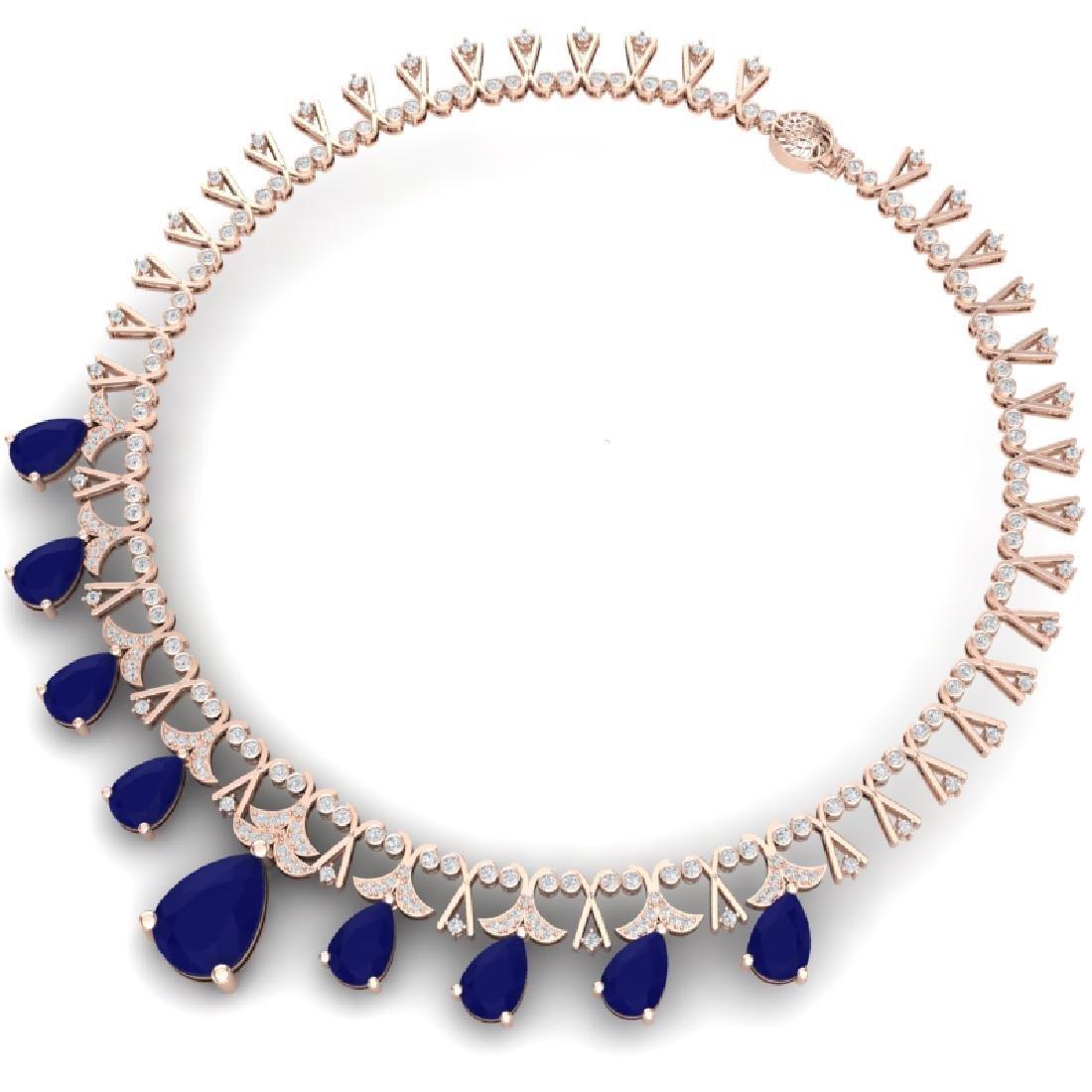 56.94 CTW Royalty Sapphire & VS Diamond Necklace 18K - 3