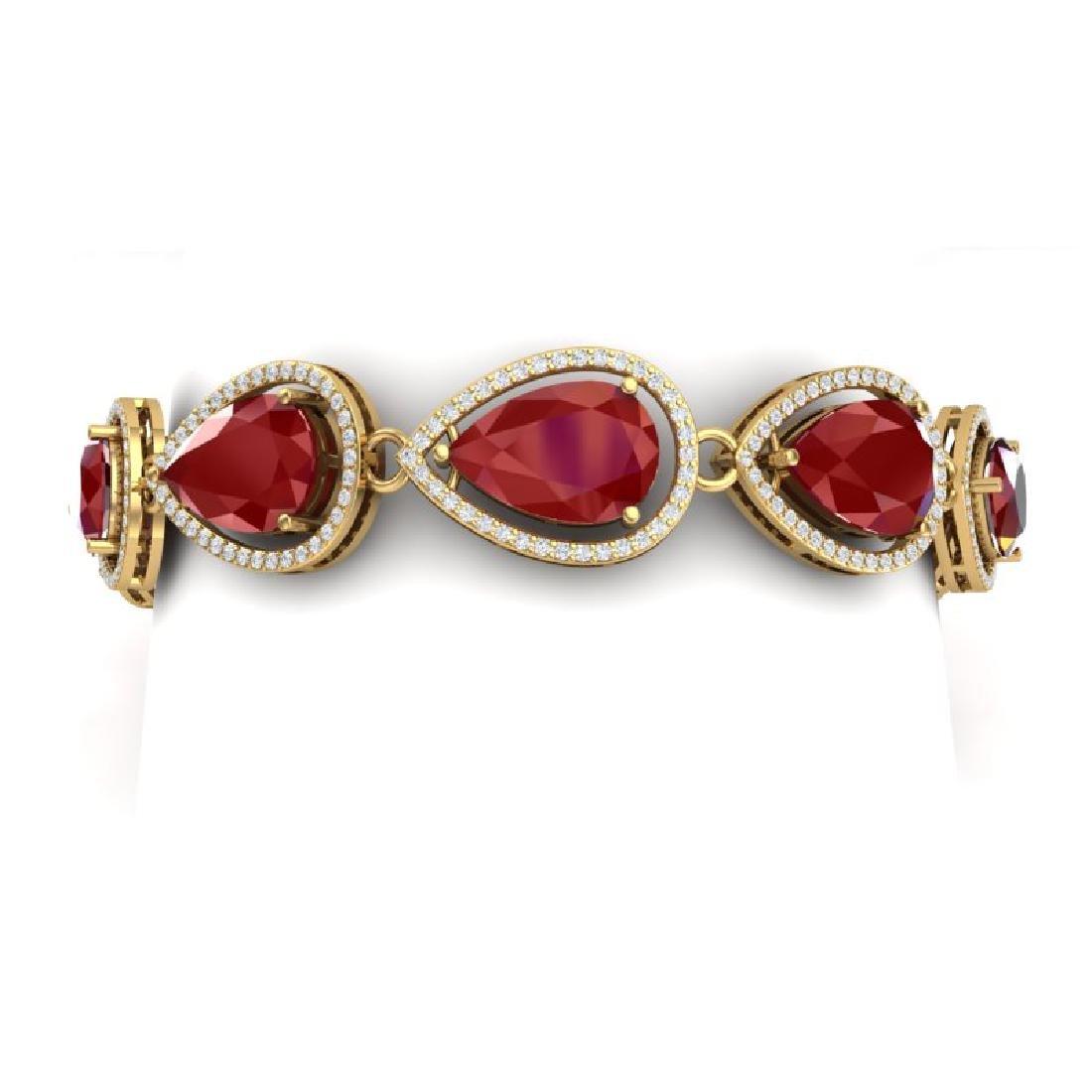 28.31 CTW Royalty Ruby & VS Diamond Bracelet 18K Yellow