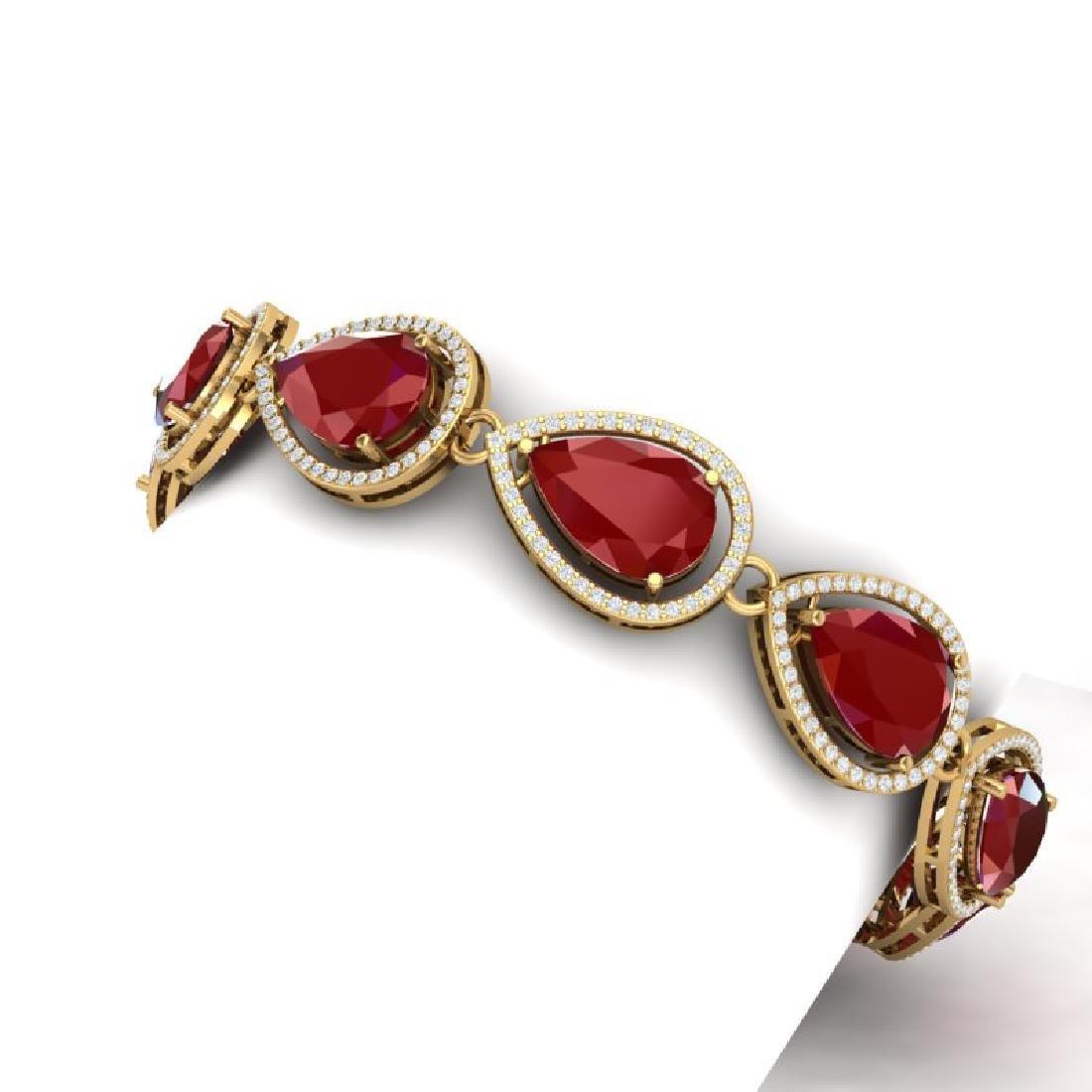 28.31 CTW Royalty Ruby & VS Diamond Bracelet 18K Yellow - 2