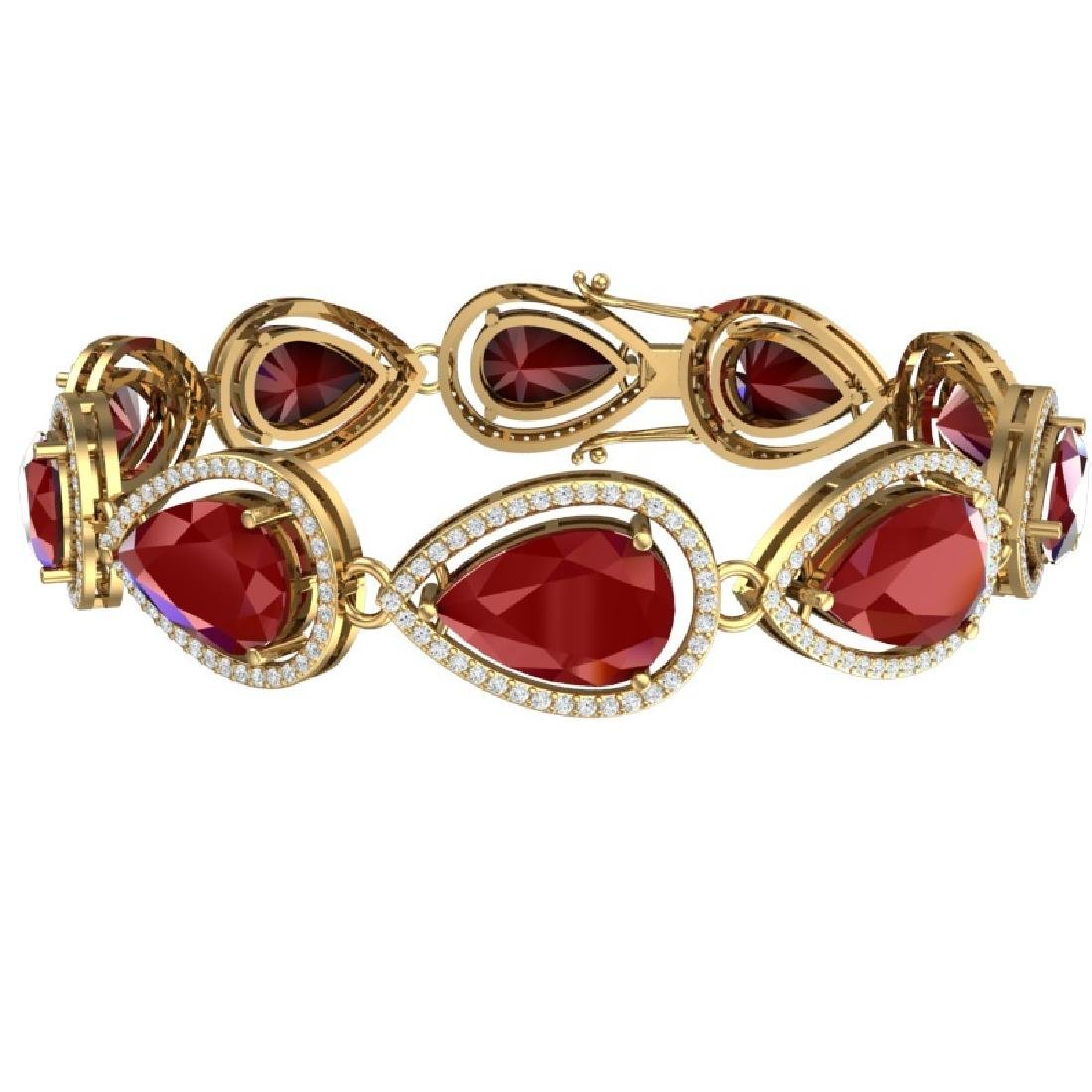 28.31 CTW Royalty Ruby & VS Diamond Bracelet 18K Yellow - 3