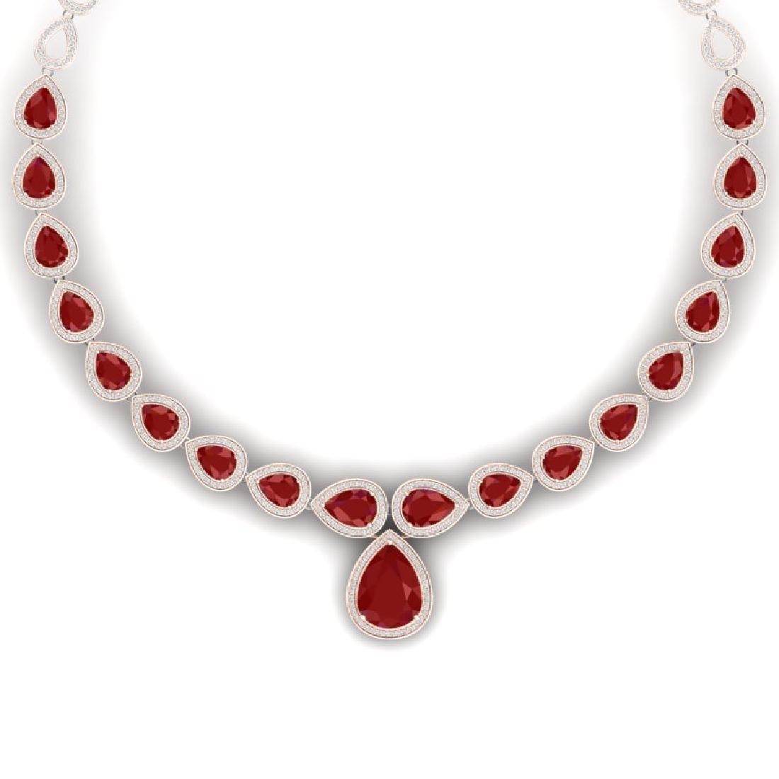 51.41 CTW Royalty Ruby & VS Diamond Necklace 18K Rose