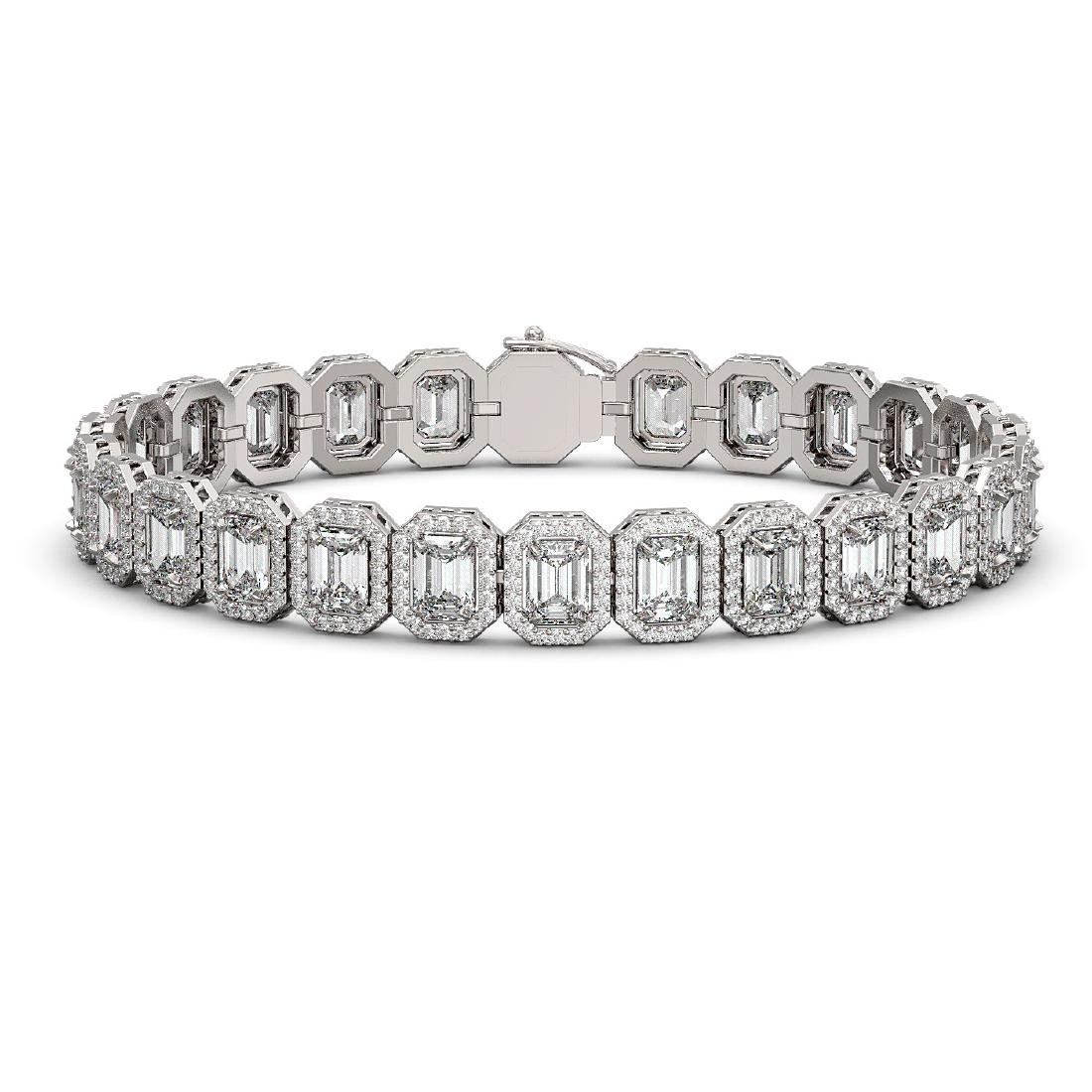 20.25 CTW Emerald Cut Diamond Designer Bracelet 18K
