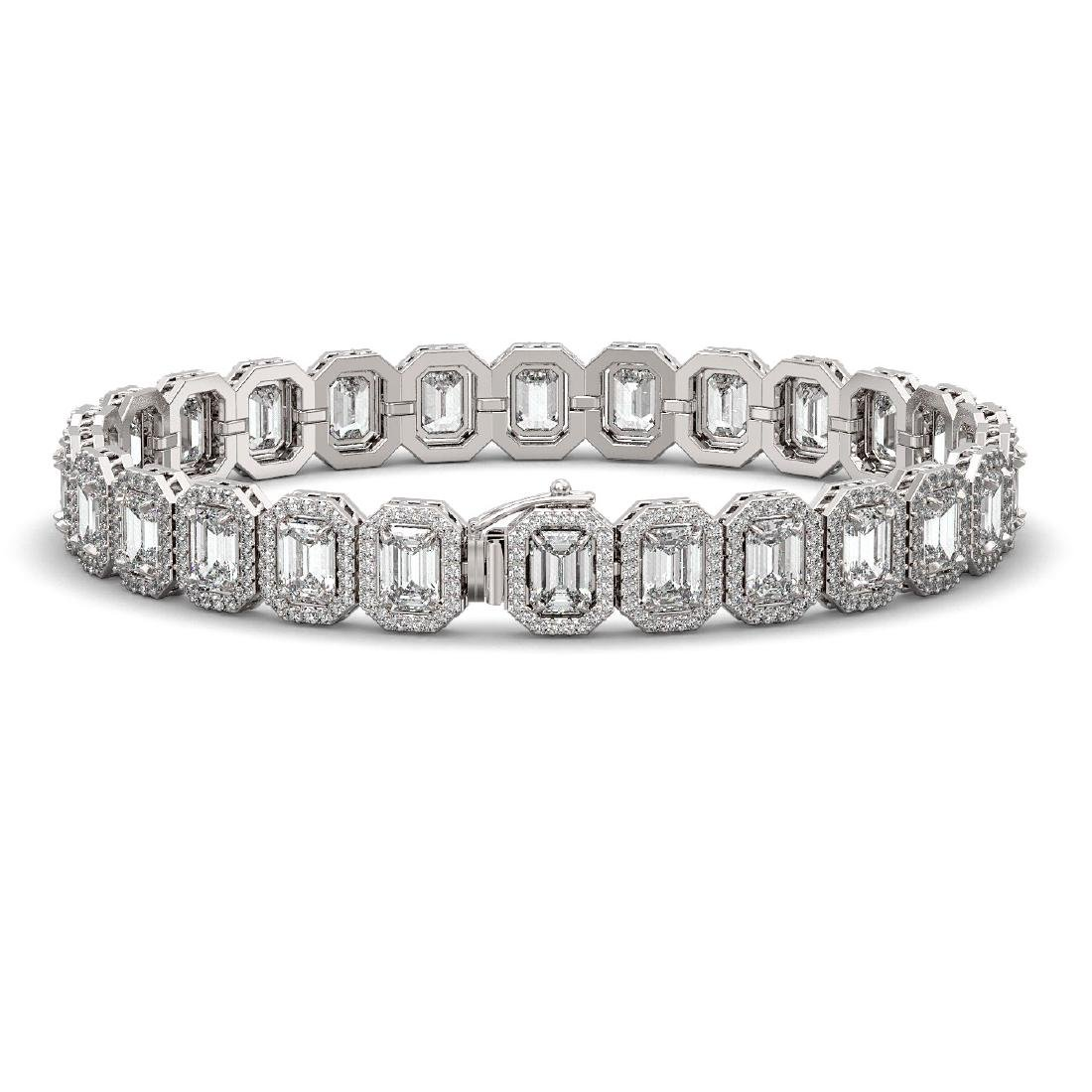 20.25 CTW Emerald Cut Diamond Designer Bracelet 18K - 2
