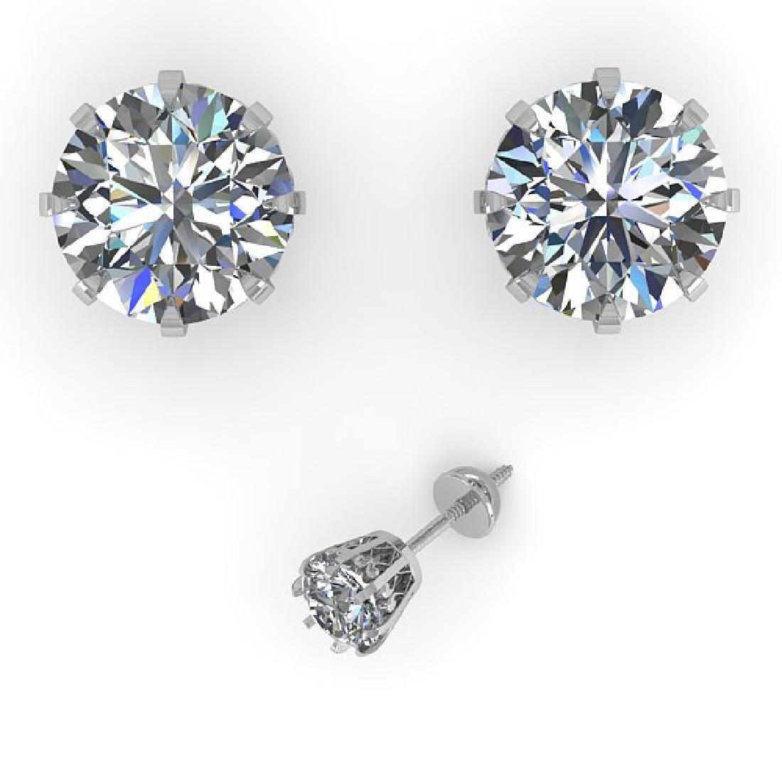 3 CTW VS/SI Diamond Stud Solitaire Earrings 14K White - 2