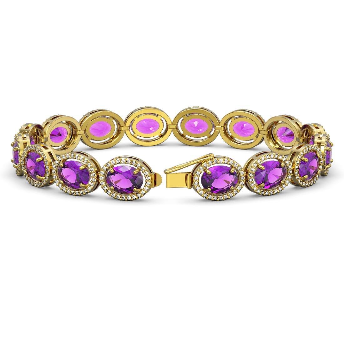 24.72 CTW Amethyst & Diamond Halo Bracelet 10K Yellow - 2
