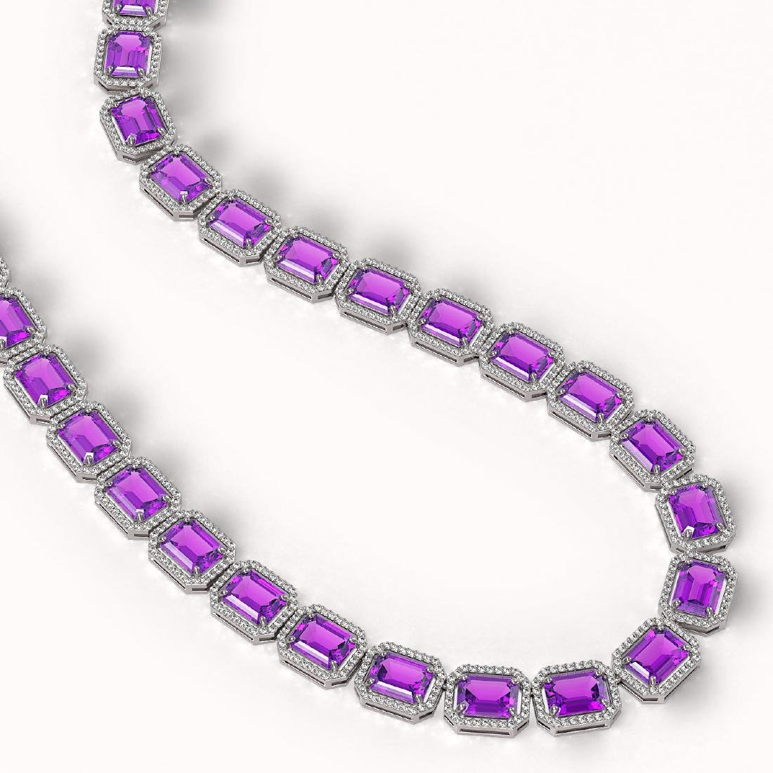 76.69 CTW Amethyst & Diamond Halo Necklace 10K White - 2