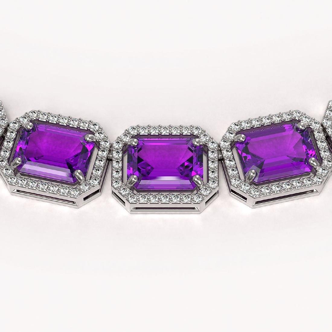 76.69 CTW Amethyst & Diamond Halo Necklace 10K White - 3