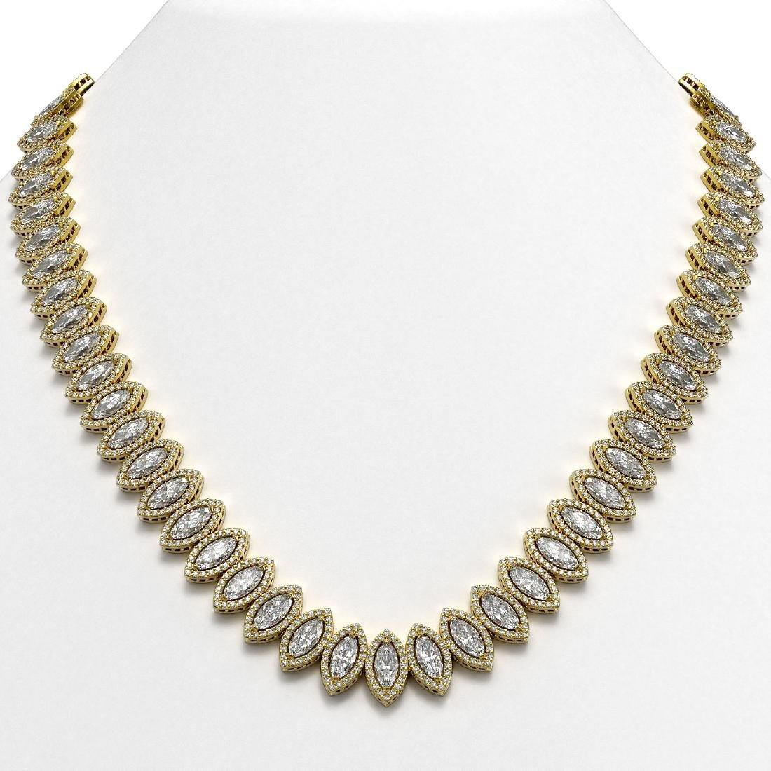 47.12 CTW Marquise Diamond Designer Necklace 18K Yellow