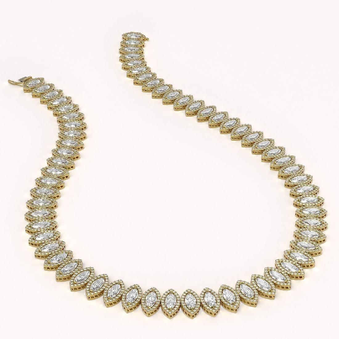 47.12 CTW Marquise Diamond Designer Necklace 18K Yellow - 2