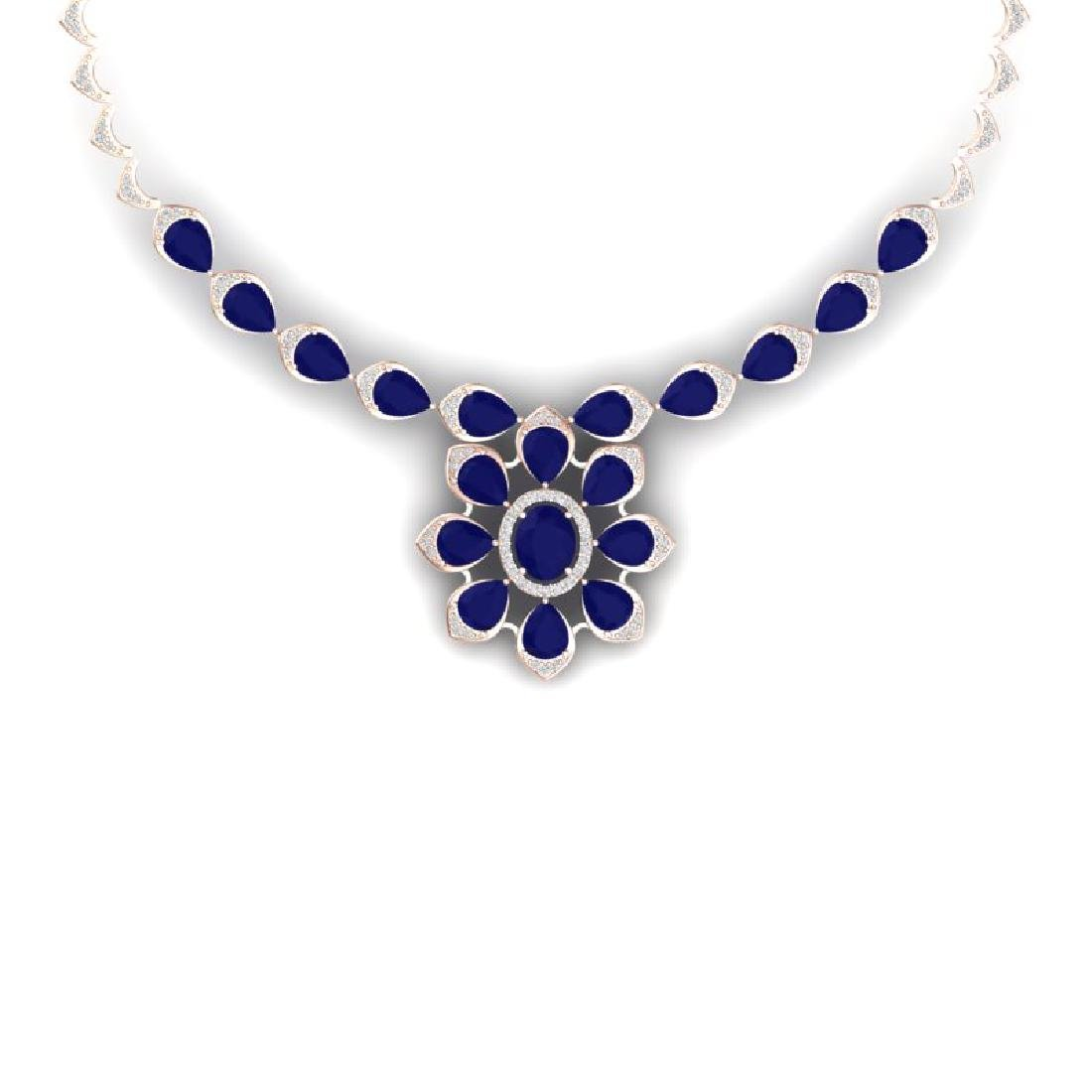 30.70 CTW Royalty Sapphire & VS Diamond Necklace 18K