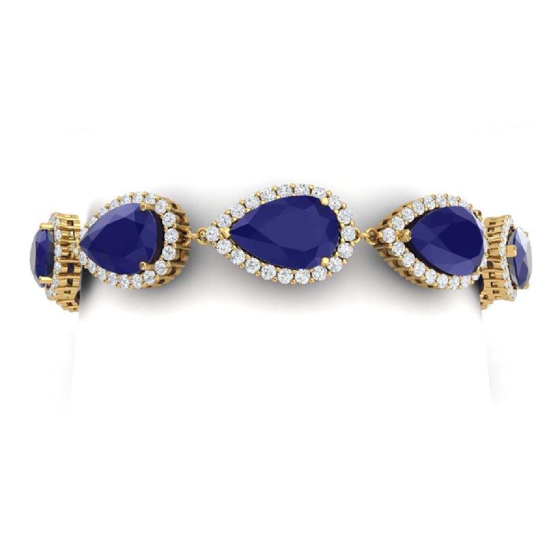 42 CTW Royalty Sapphire & VS Diamond Bracelet 18K