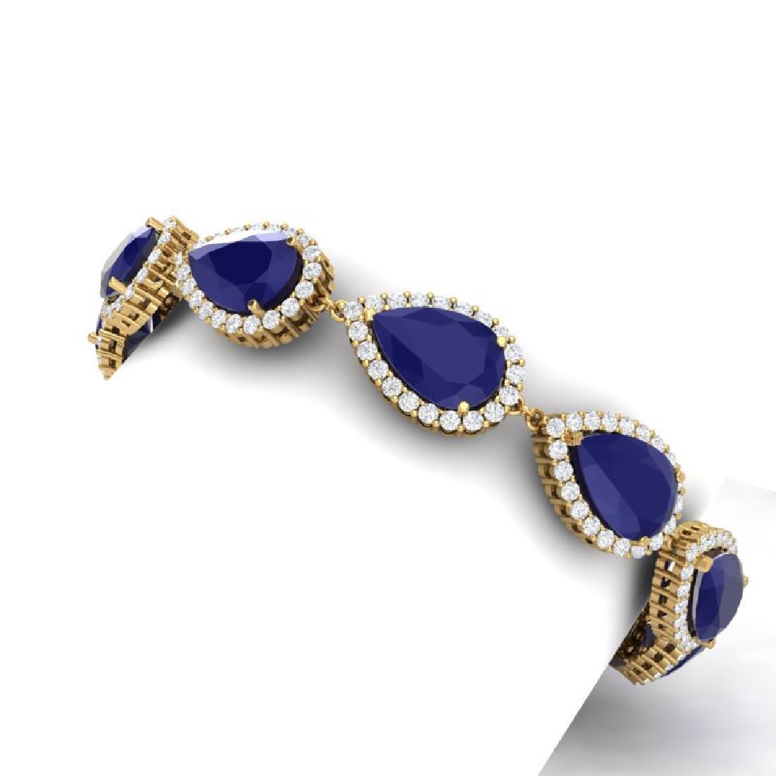 42 CTW Royalty Sapphire & VS Diamond Bracelet 18K - 2