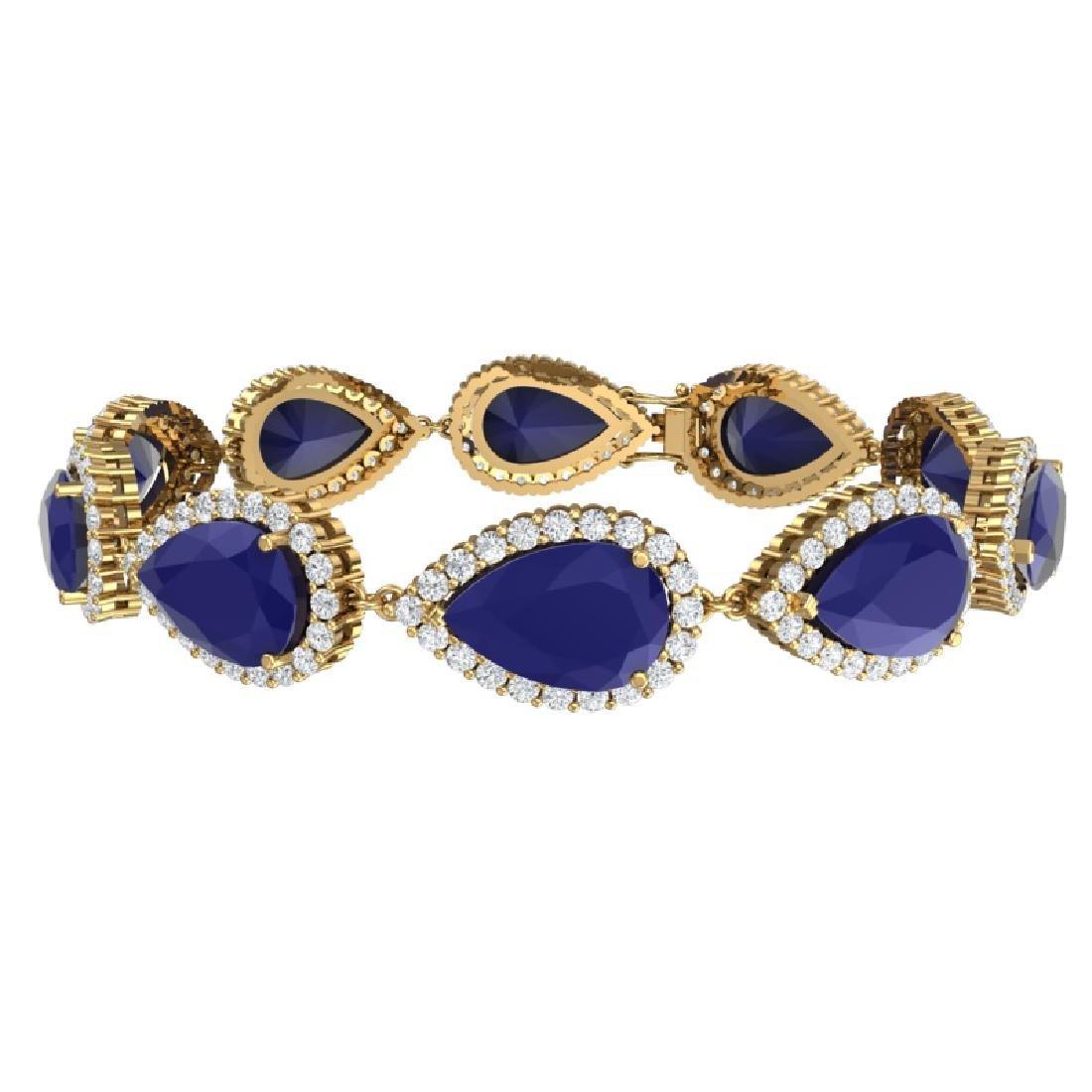 42 CTW Royalty Sapphire & VS Diamond Bracelet 18K - 3