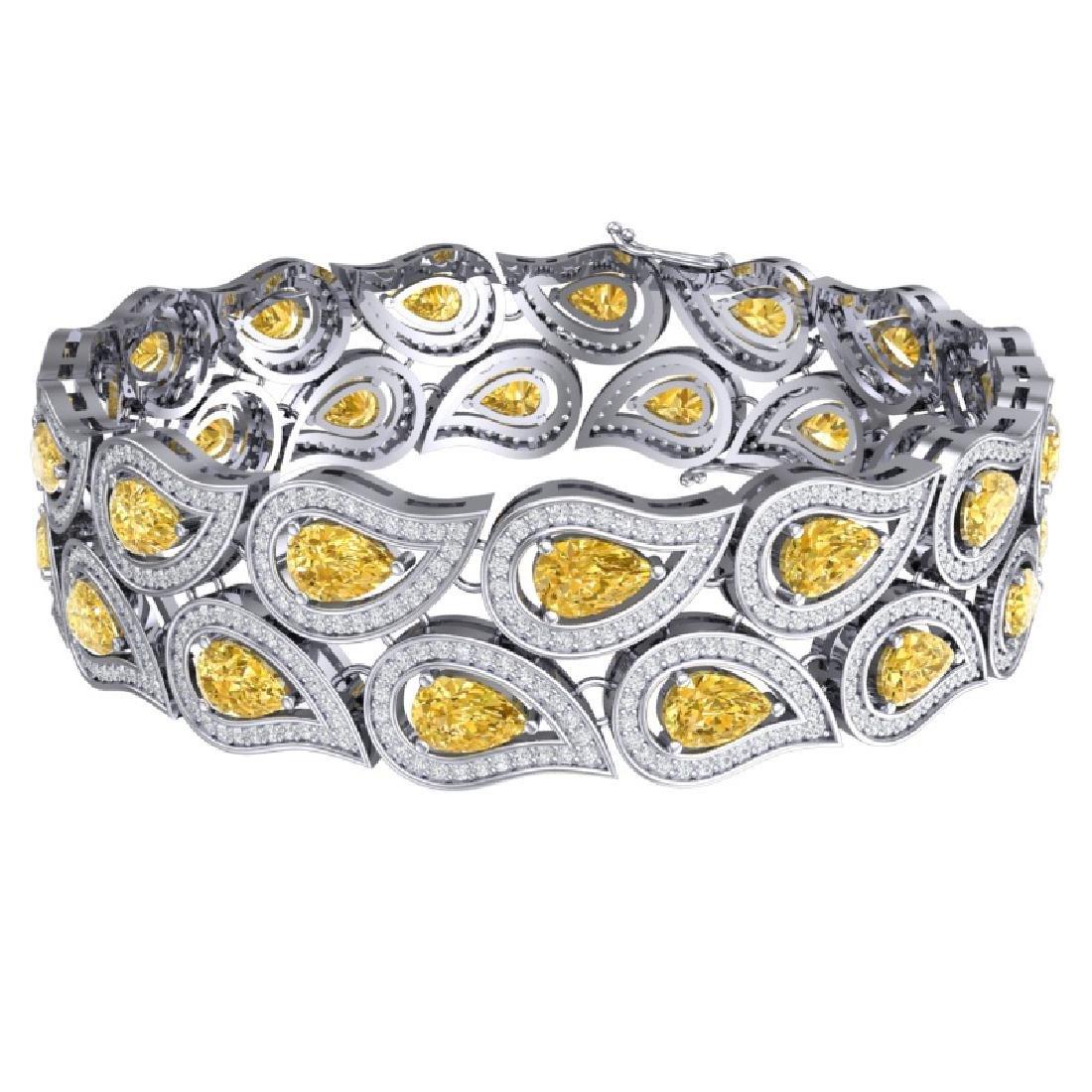 18.61 CTW Royalty Canary Citrine & VS Diamond Bracelet - 3