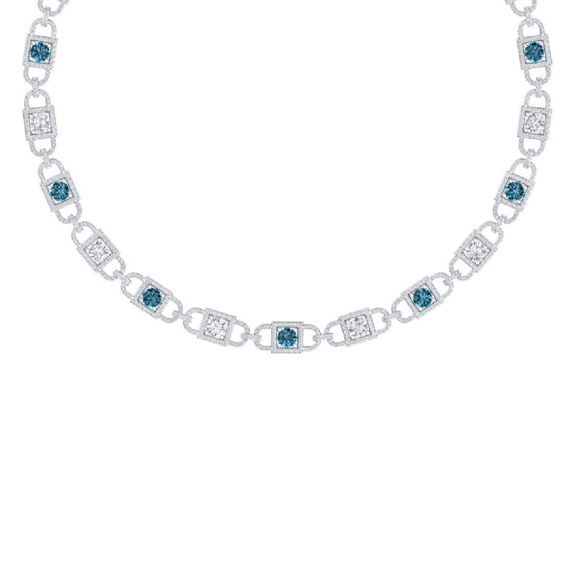 20 CTW SI/I Intense Blue And White Diamond Necklace 18K