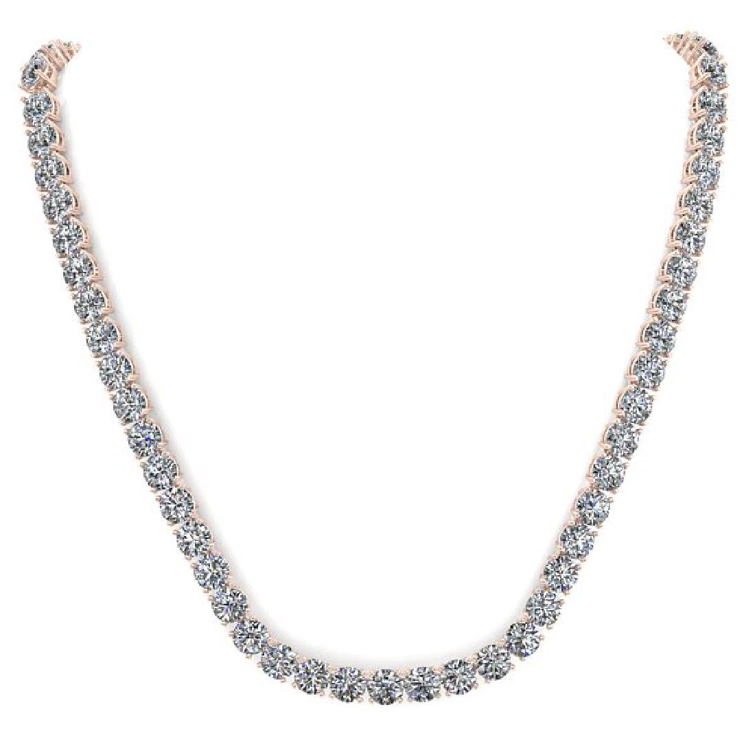 38 CTW Certified SI Diamond Necklace 18K Rose Gold - 3