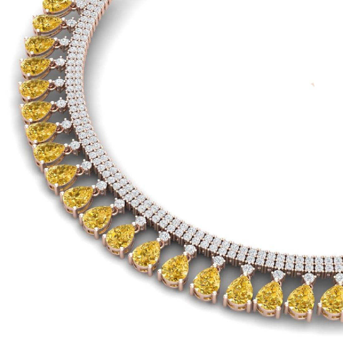 39.66 CTW Royalty Canary Citrine & VS Diamond Necklace - 2