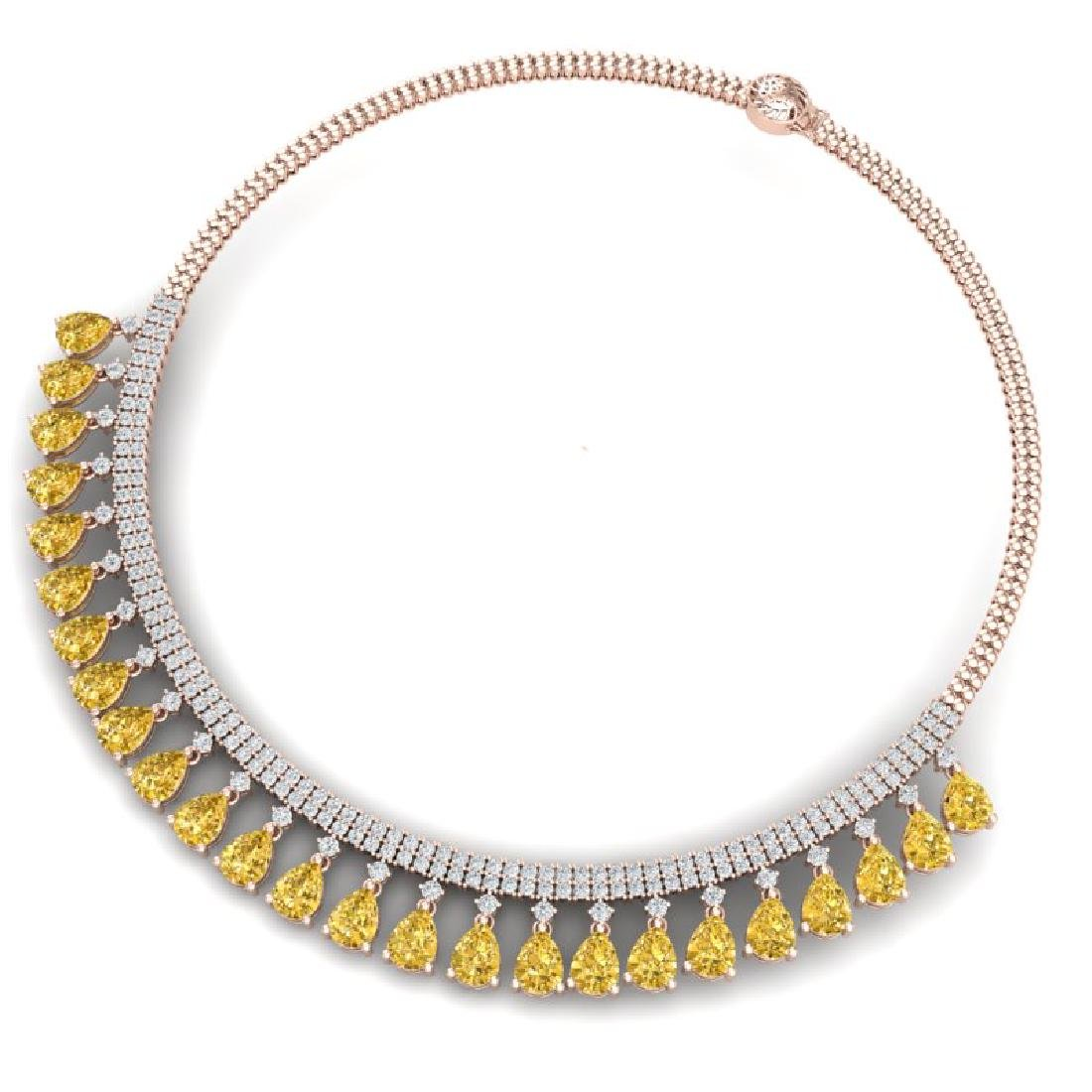 39.66 CTW Royalty Canary Citrine & VS Diamond Necklace - 3