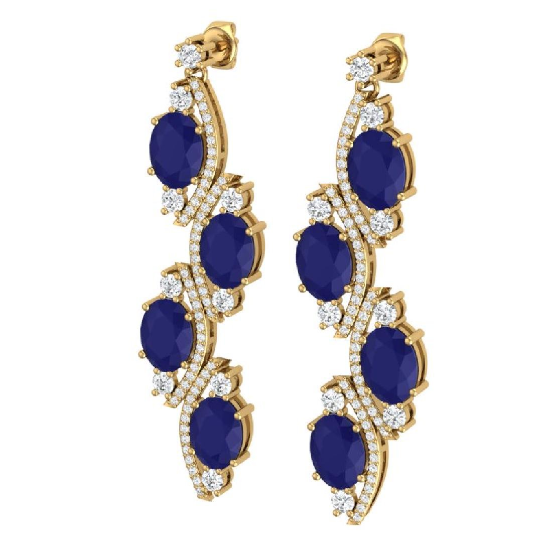 16.12 CTW Royalty Sapphire & VS Diamond Earrings 18K - 2