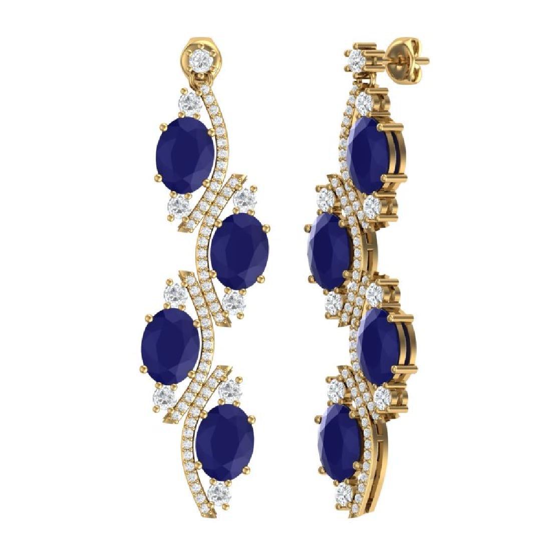 16.12 CTW Royalty Sapphire & VS Diamond Earrings 18K - 3