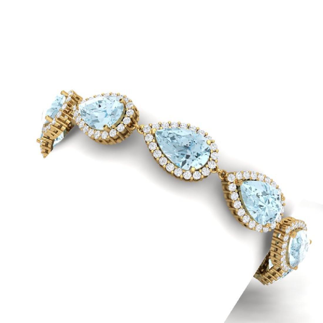 41.87 CTW Royalty Sky Topaz & VS Diamond Bracelet 18K - 2