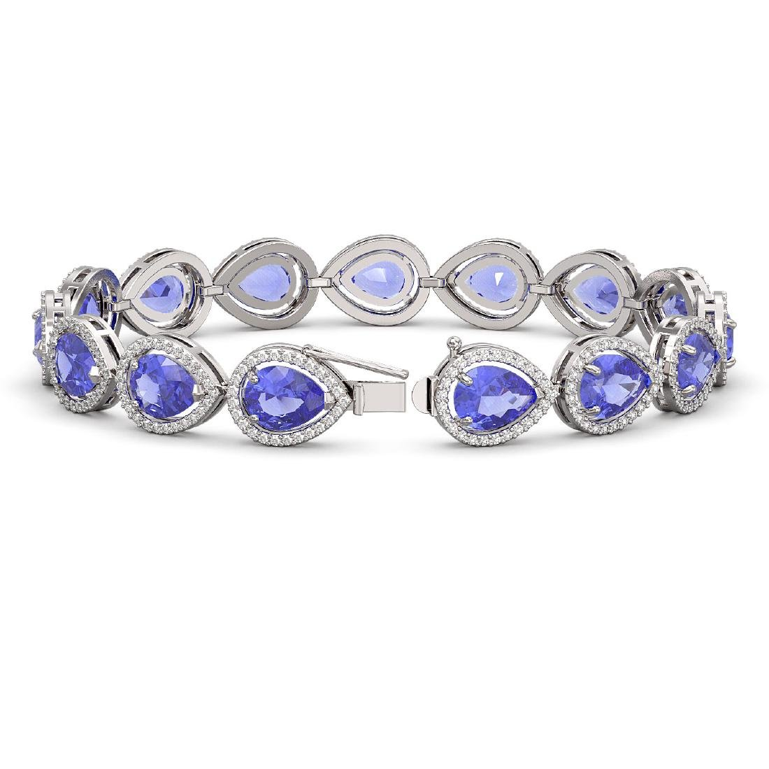 21.06 CTW Tanzanite & Diamond Halo Bracelet 10K White - 2