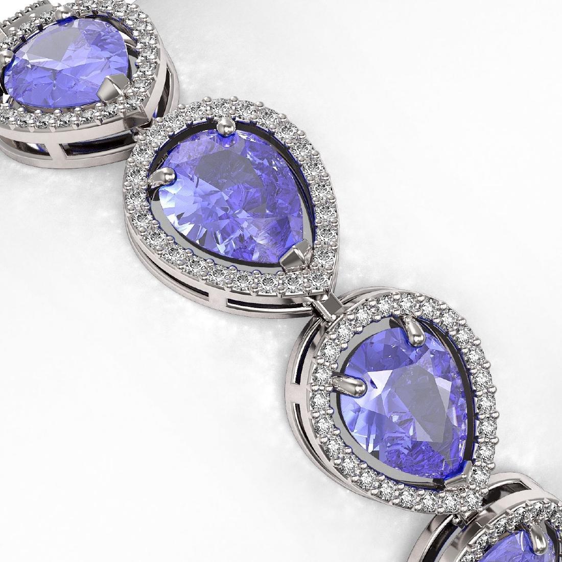 21.06 CTW Tanzanite & Diamond Halo Bracelet 10K White - 3