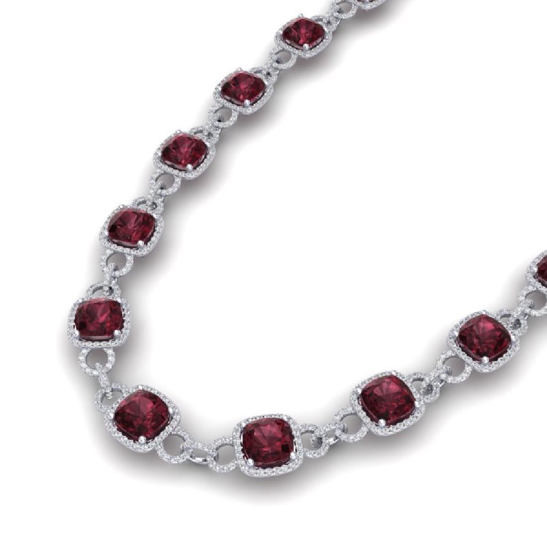 66 CTW Garnet & VS/SI Diamond Necklace 14K White Gold