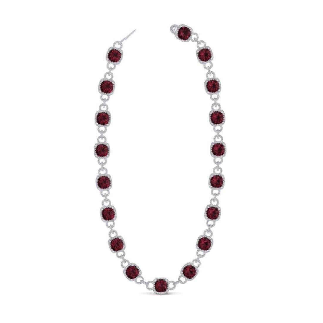 66 CTW Garnet & VS/SI Diamond Necklace 14K White Gold - 2