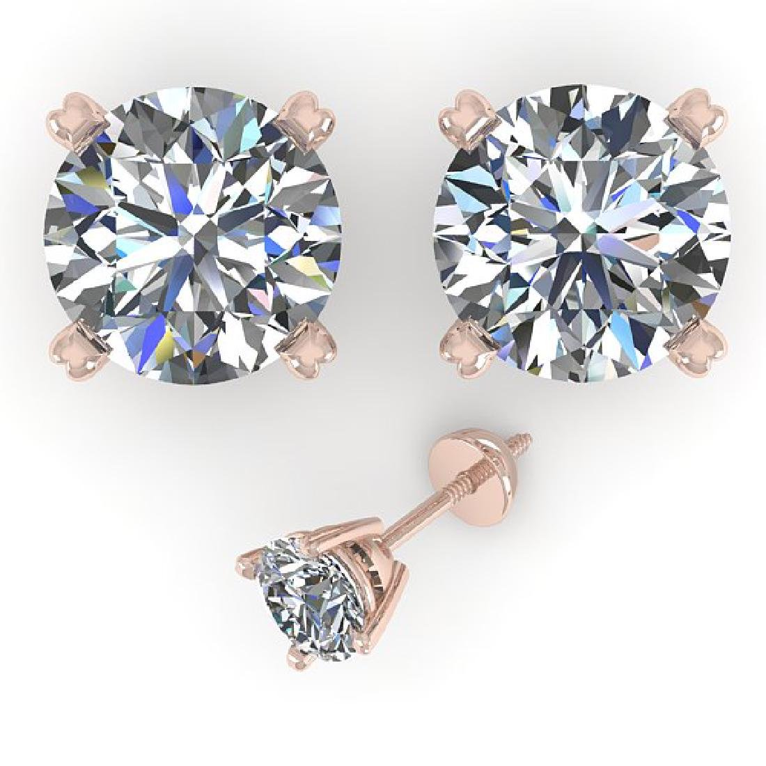 2.53 CTW Certified VS/SI Diamond Stud Earrings 14K Rose - 2