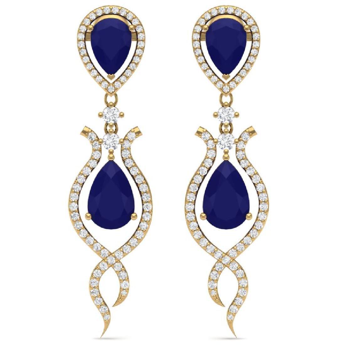 16.57 CTW Royalty Sapphire & VS Diamond Earrings 18K