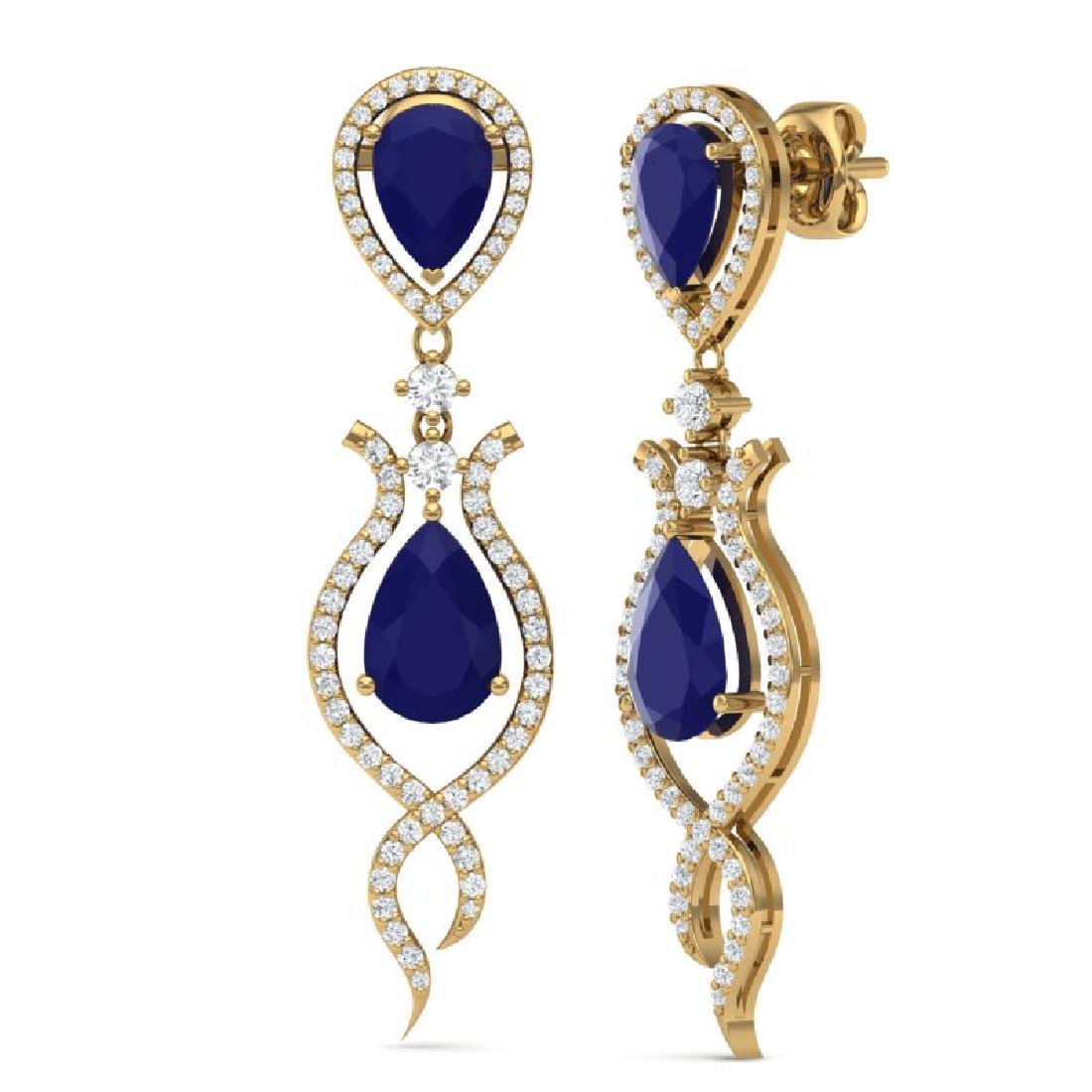 16.57 CTW Royalty Sapphire & VS Diamond Earrings 18K - 3
