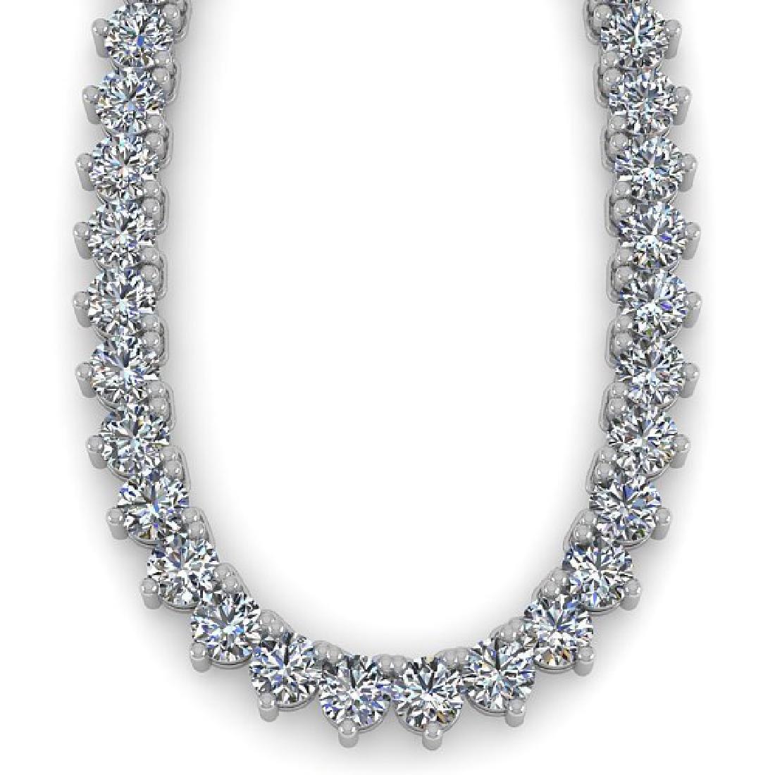 33 CTW Solitaire SI Diamond Necklace 14K White Gold - 2