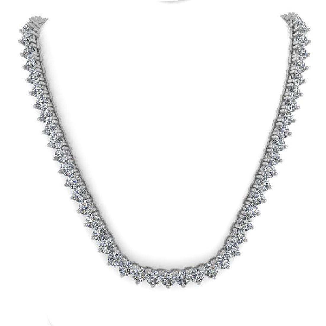 33 CTW Solitaire SI Diamond Necklace 14K White Gold - 3