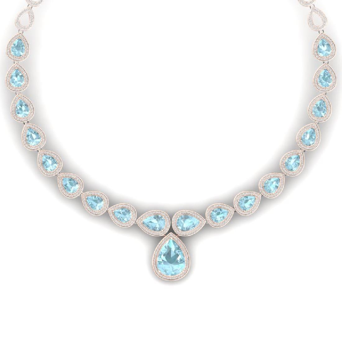 54 CTW Royalty Sky Topaz & VS Diamond Necklace 18K Rose
